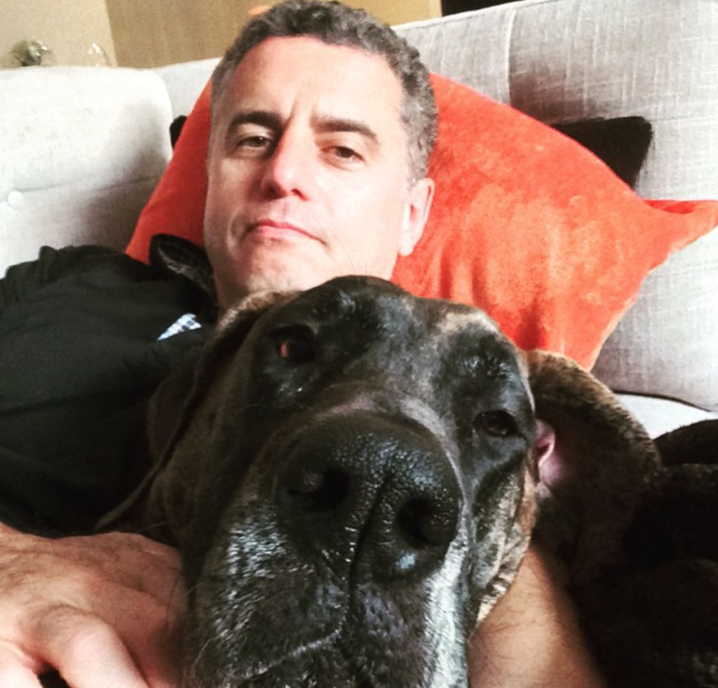 Dr. Garth Davis and his dog on The Food Heals Podcast