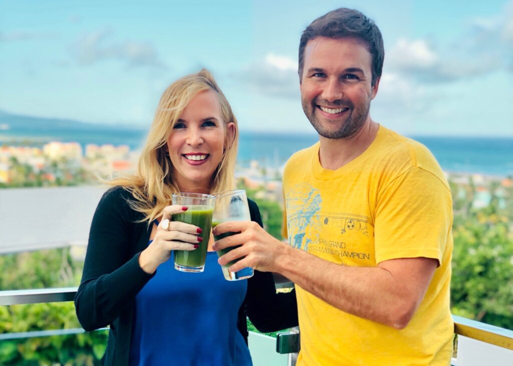 Entrepreneurs on Fire Host, John Lee Dumas and Food Heals Host Allison Melody geek out on the green juice in Puerto Rico